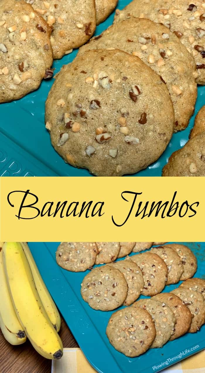 Collage of Banana Jumbo cookie and bread combination recipe with text