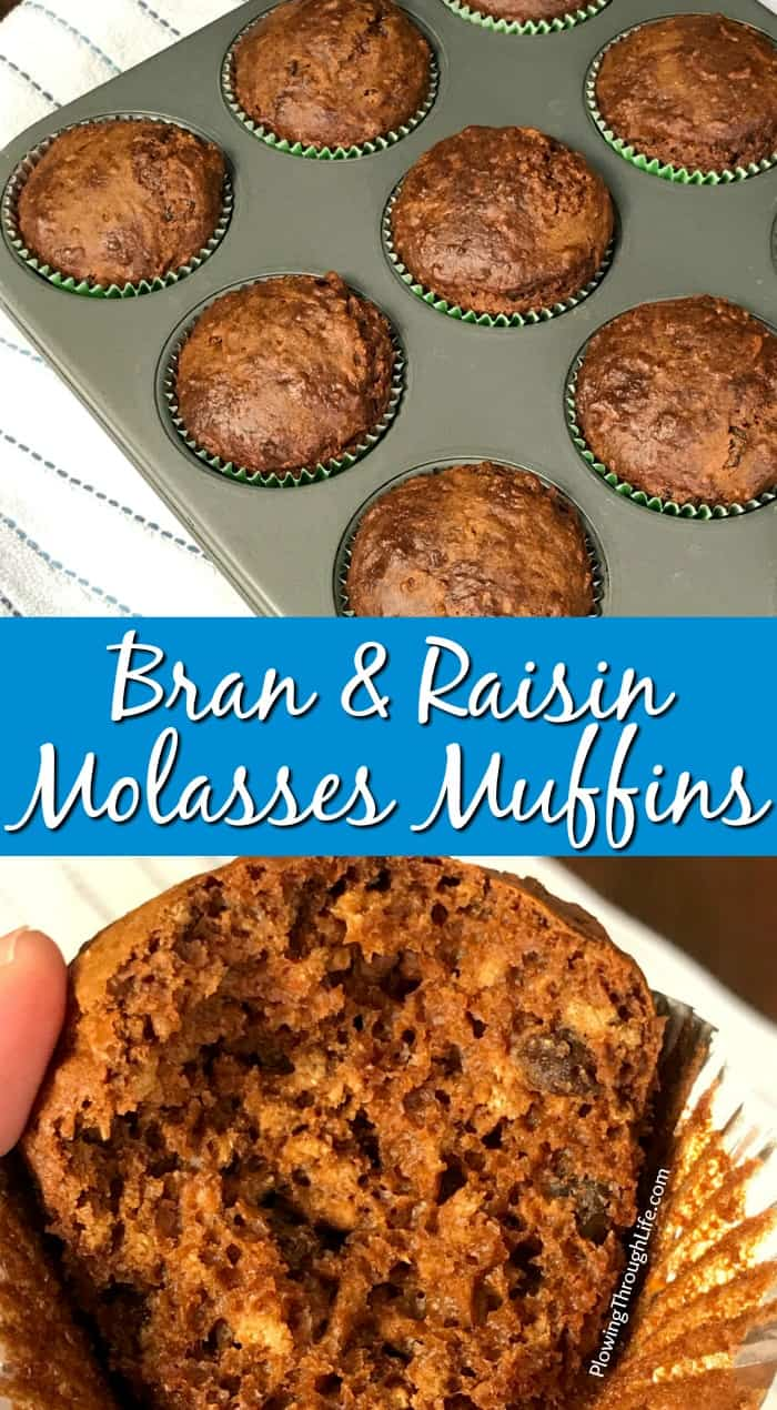 Collage of Bran and Raisin Molasses Muffins with text.