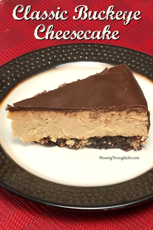 Decadent slice of Buckeye Cheesecake on a plate with a red napkin.