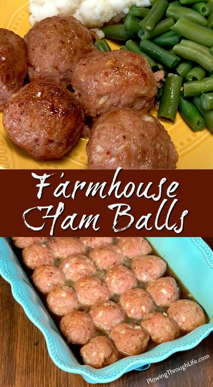 Collage of Farmhouse Ham Balls