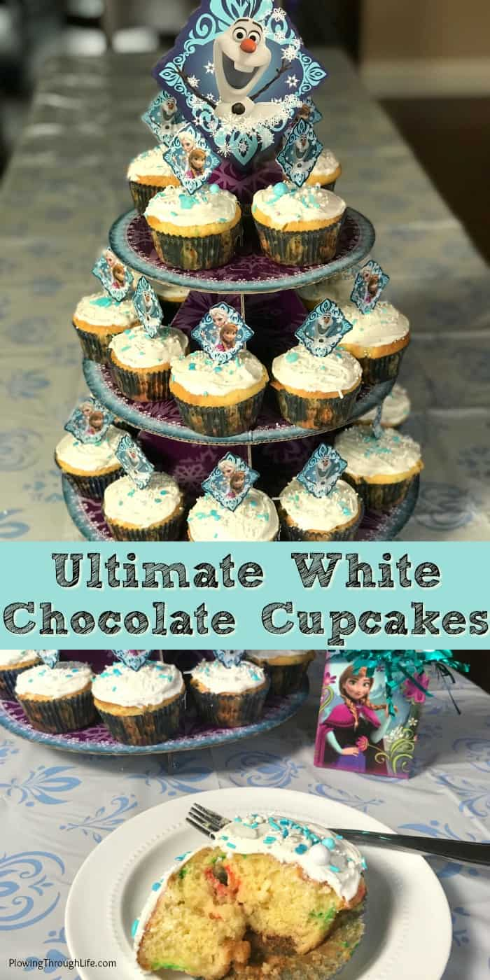 We've already made the Ultimate White Chocolate FROZEN Cupcakes to celebrate that FROZEN on Ice is coming to Columbus, Ohio!  These are bakery quality cupcakes made from a box mix.  Easy FROZEN party cupcakes are super moist and delicious!