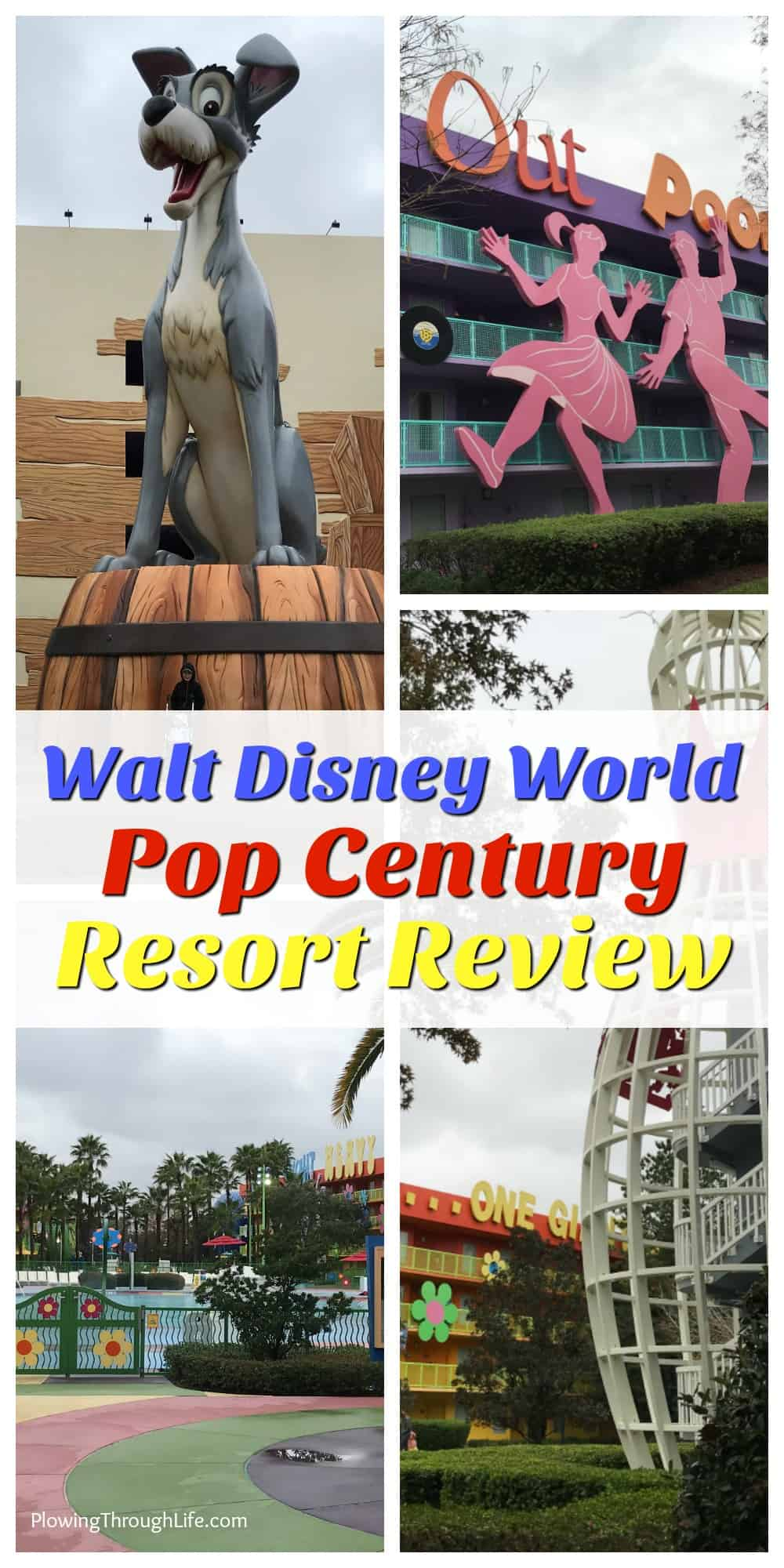 Collage of outside theme decorations at the Pop Century Resort.