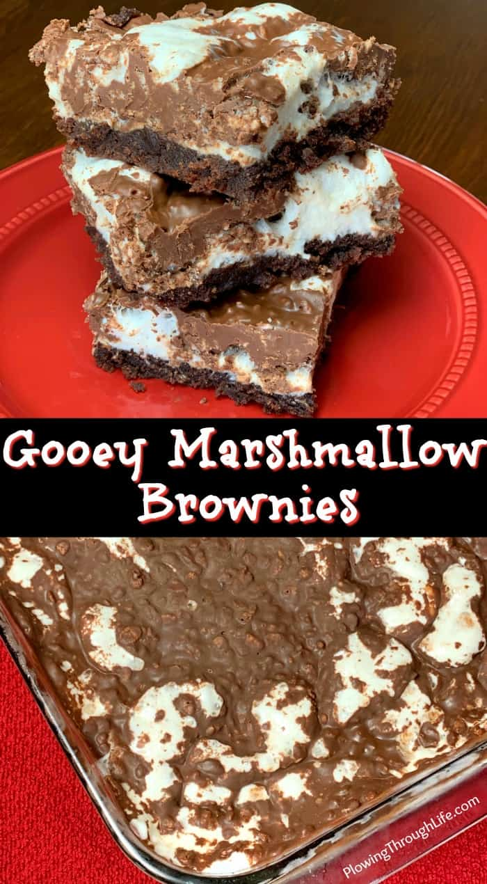 Gooey Marshmallow Brownies have a fudgy brownie layer with a gooey marshmallow layer topped with chocolately crispies that make a DELICIOUS chocolate dessert!  These combinations of chocolate are irresistible!