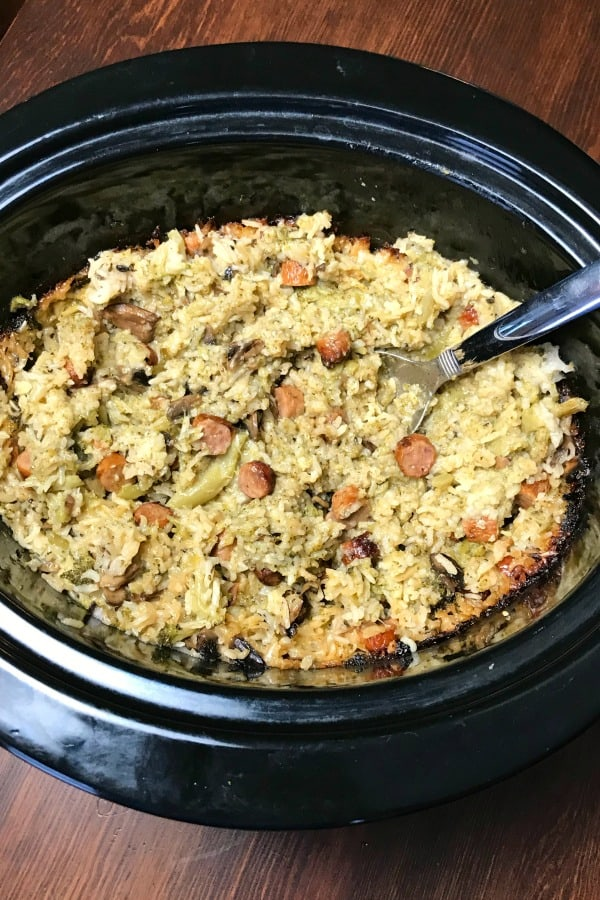 Sausage Link, Broccoli and Rice Crock Pot Casserole on a wooden table