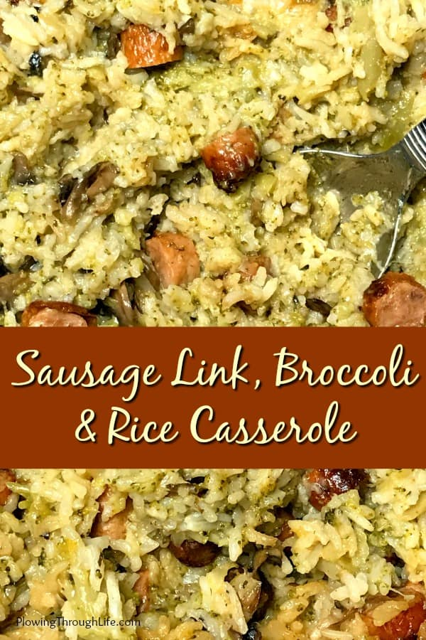 Collage of Sausage Link, Broccoli and Rice Crock Pot Casserole with text