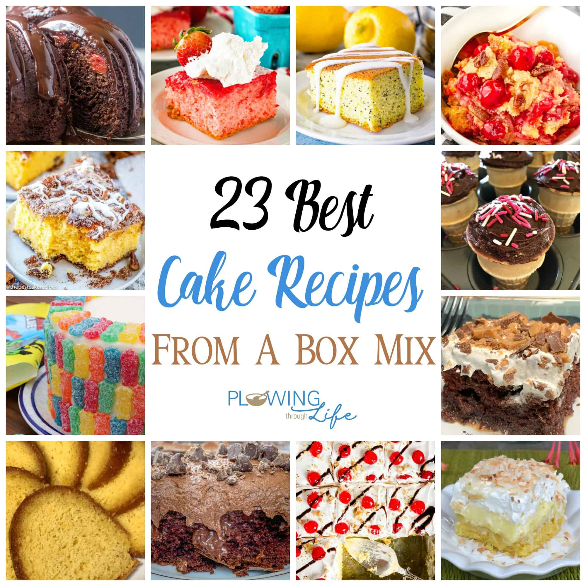 Collage of best cake recipes from a box mix