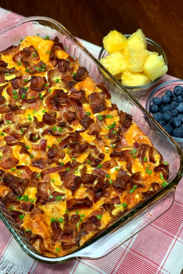 The best breakfast casserole with bacon can be mixed up and stored in the refrigerator overnight to save time at breakfast