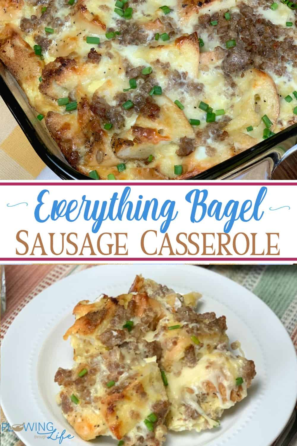 Are you looking for a nice casserole with unique flavors that is easy to make?  Everything Bagel and Sausage Casserole has bold bagel seasonings, maple sausage and rich cheese to create a memorable breakfast or bunch!