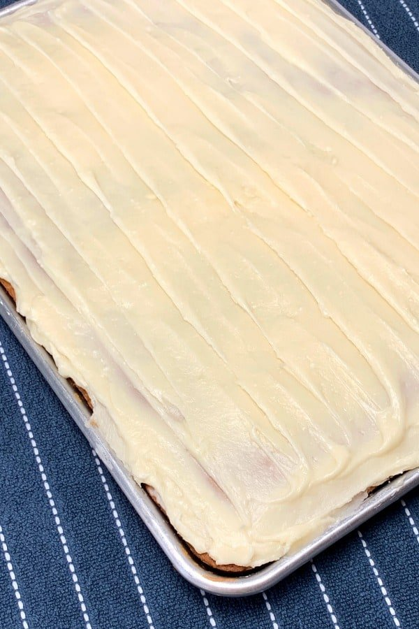 Sheet pan of Frosted Banana Bars with cream cheese icing!