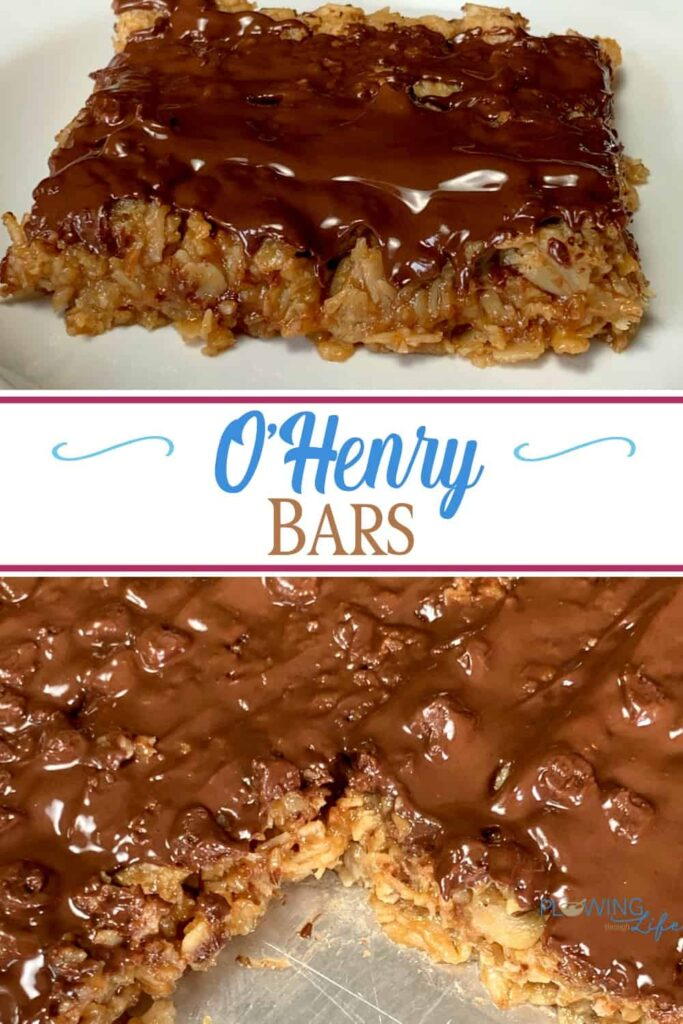 Collage of homemade O'Henry Bars that are soft and chewy!