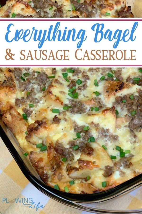 Everything Bagel and Sausage Casserole dish with text