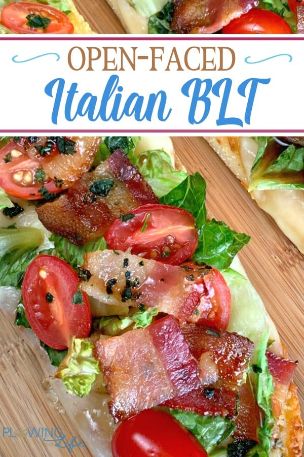 Open-Faced Italian BLT with text on a cutting board