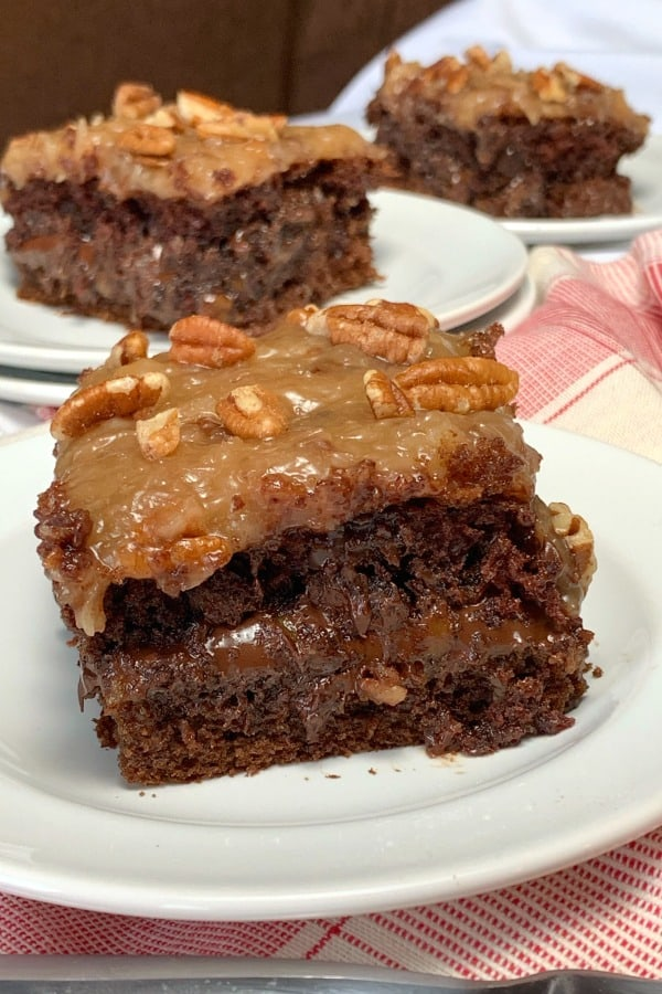 Turtle chocolate cake with a rich layer of caramel and pecans in the middle.