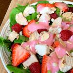 Fruity Strawberry Yogurt Salad Dressing close up in a bowl