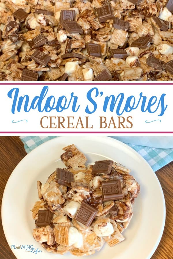 Indoor Smores Cereal Bars are pure ooey gooey deliciousness! We can't stop eating these homemade Golden Graham cereal bars that are the perfect dessert or snack