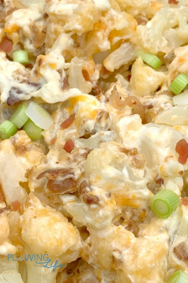 close up loaded cauliflower made in a slow cooker