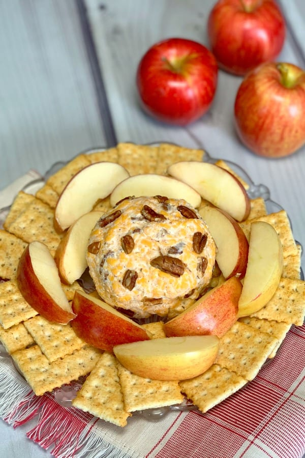 Apple slices covered with this cheddar cheese mixture make a delicious snack, cold appetizer or tailgate party food.  The sweet and savory flavors are SO good it's hard to stop eating these Apple and Cheddar Cheese Snacks!