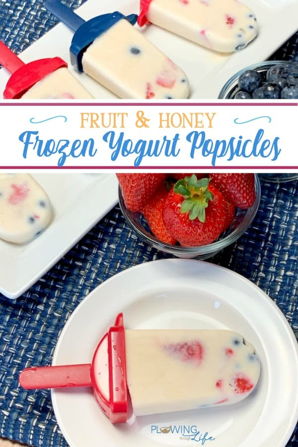 Frozen yogurt popsicles with fresh fruit and honey on white plates on blue placemat