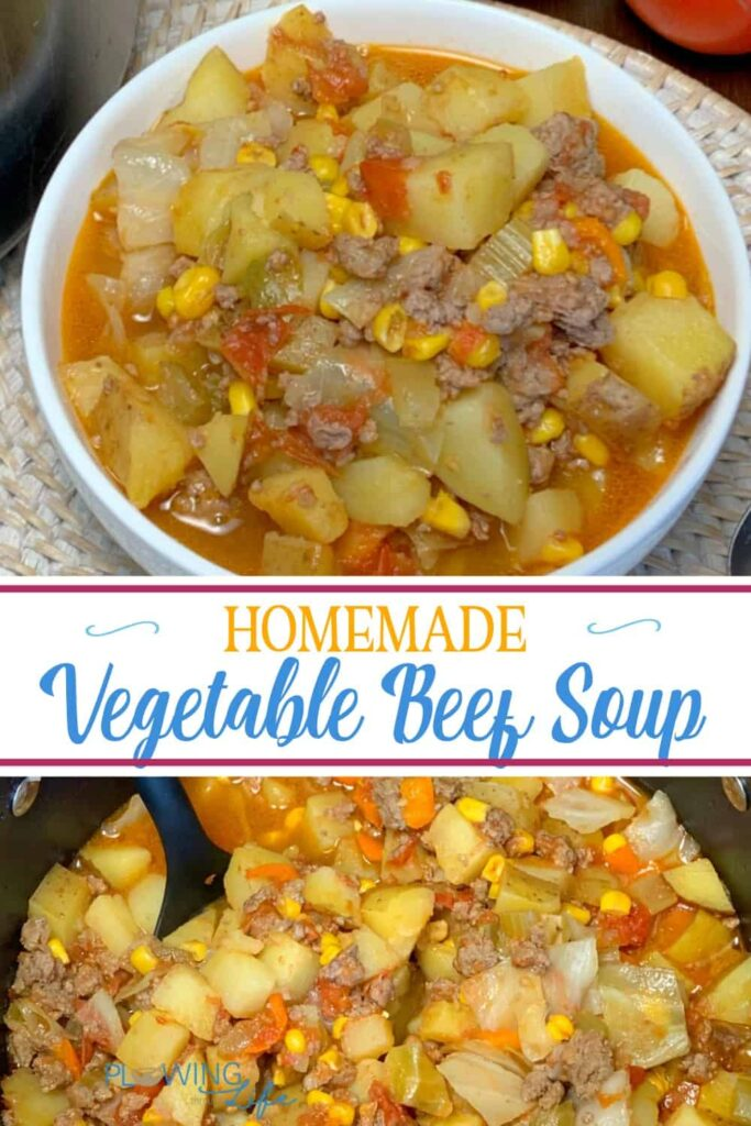 Are you looking for a way to use extra vegetables from the garden?  Our Homemade Vegetable Beef Soup is colorful, delicious and packed with flavor!   This healthy, yet hearty soup is packed with vegetable and has hamburger and potatoes which my family really enjoys!