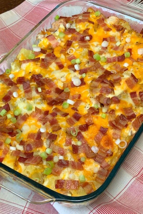 Chicken and Twice Baked Potato Casserole casserole can feed a crowd at potlucks, make freezer meals or extra lunches for your family.