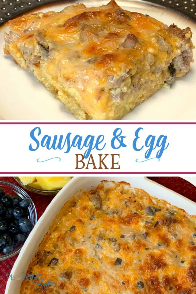 Our family loves a traditional breakfast with sausage and eggs.  This Farmhouse Egg and Sausage Bake satisfies all of those cravings and makes a delicious brunch, lunch or dinner casserole!  I love that it's so easy to mix up and is an overnight casserole with which makes kitchen cleanup easier.