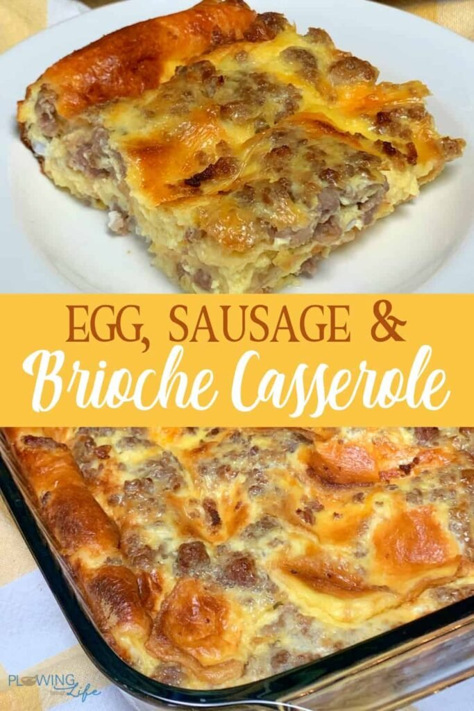 Collage of brioche bread and maple sausage make a sweet and easy twist on a classic breakfast casserole with text.