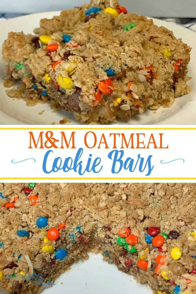 Chewy oatmeal with sweetened condensed milk and chocolate makes a baked oatmeal bar that is perfect for dessert, a snack or a breakfast bar.  If I had an amazing metabolism I would eat these M&M Oatmeal Cookie Bars for breakfast every morning!