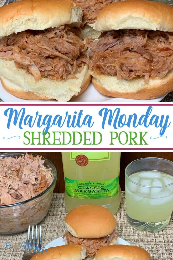 Margarita Monday Pulled Pork collage of sandwiches and classic margarita mix will pulled pork