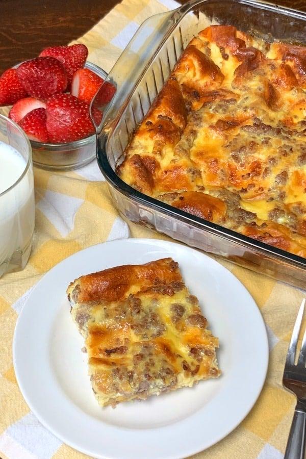 Sweet brioche bread, maple bacon and eggs in an easy breakfast casserole