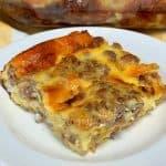 square piece of egg, sausage and brioche easy breakfast casserole