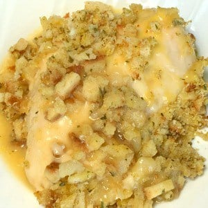 chicken breast with stuffing and condensed chicken soup gravy