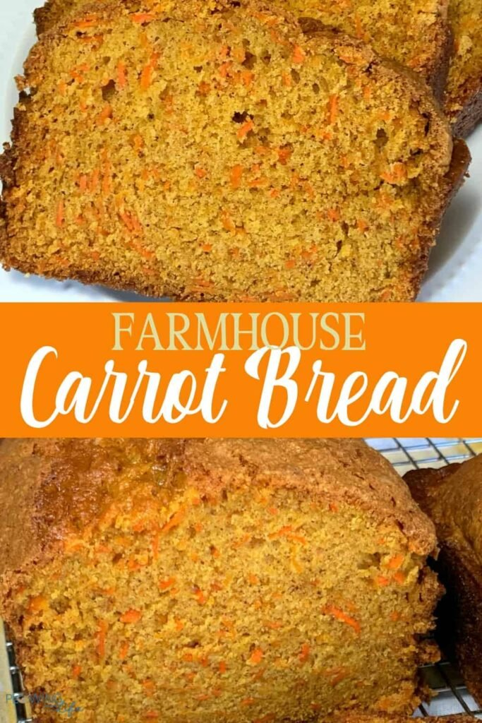 loaf and slice of homemade farmhouse carrot bread