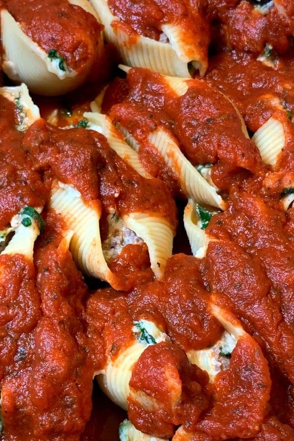 Close up of Italian stuffed shells