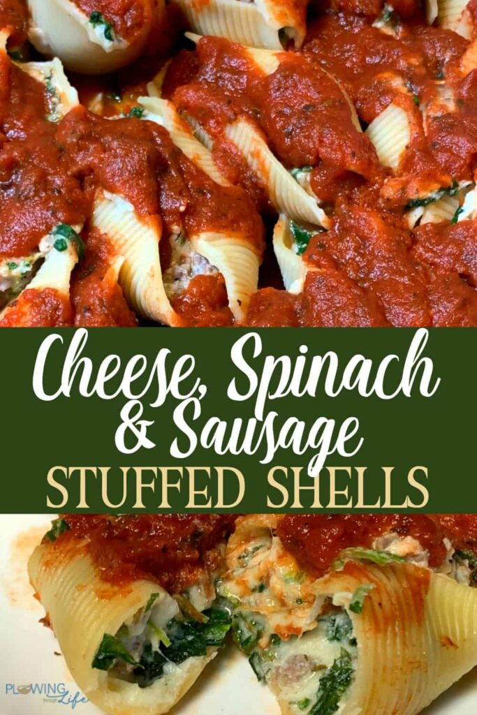 collage of spinach, cheese and sausage stuffed shells