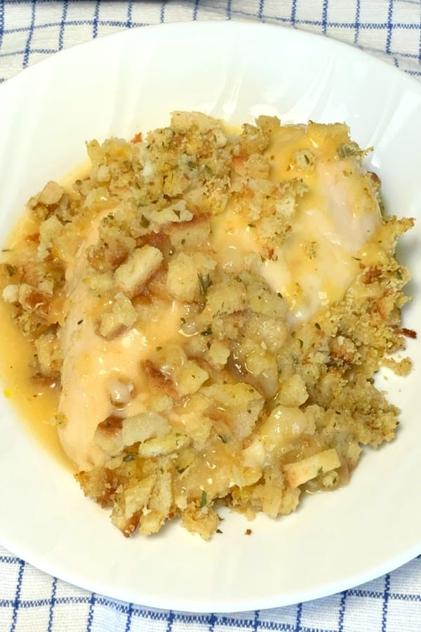 Serving of chicken breast casserole with stuffing