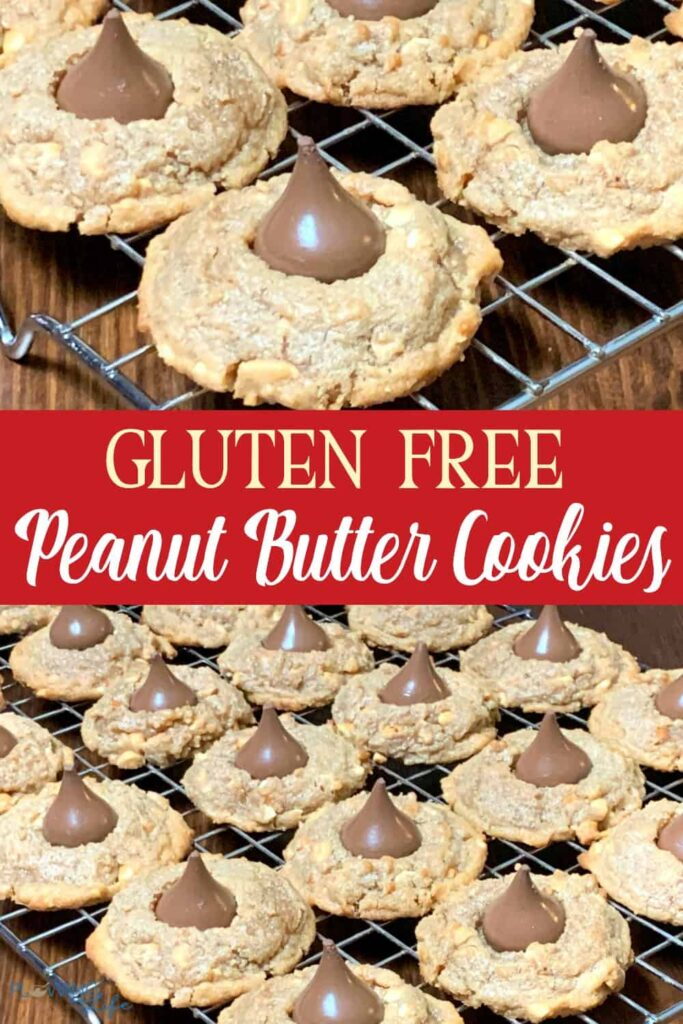 collage of gluten free peanut butter blossoms