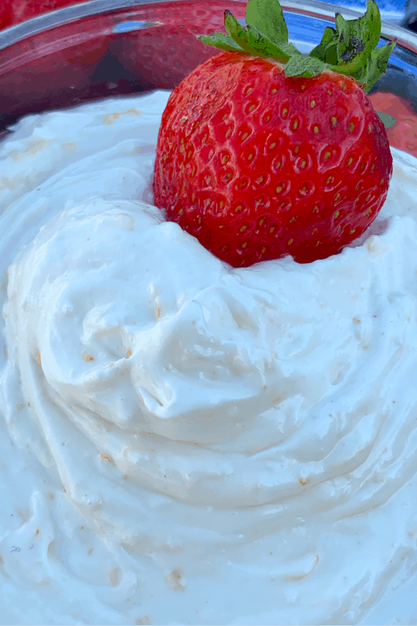 Strawberry in marshmallow cream fruit dip