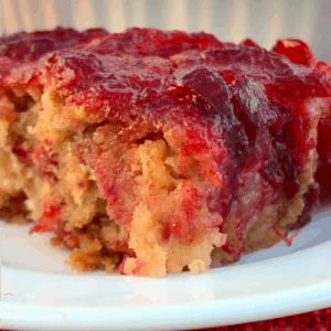 close up picture of cranberry apple bar on a white plate