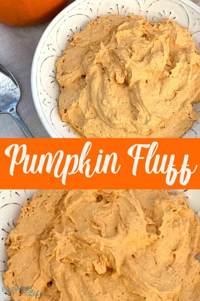 collage of pumpkin fluff pie filling and dip