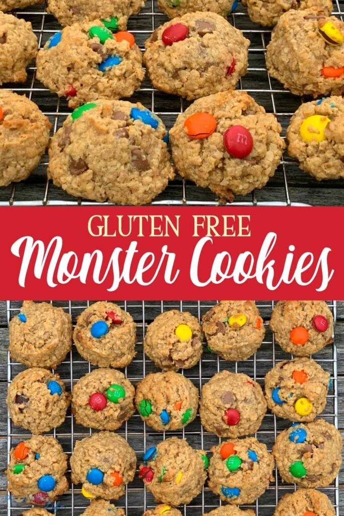 Pinterest collage of gluten free monster cookies
