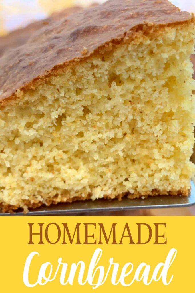 Close up slice of homemade cornbread
