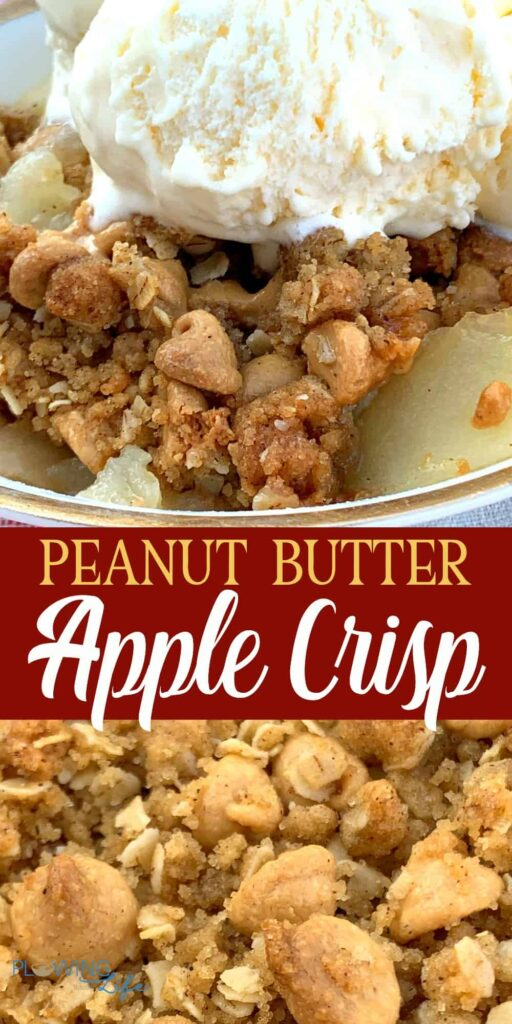 collage of Apple Crisp with Peanut Butter Crumble with ice cream