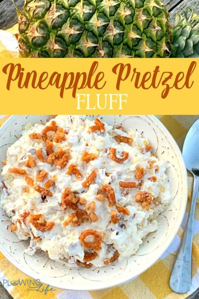 Pinterest image for pineapple pretzel dessert salad with text