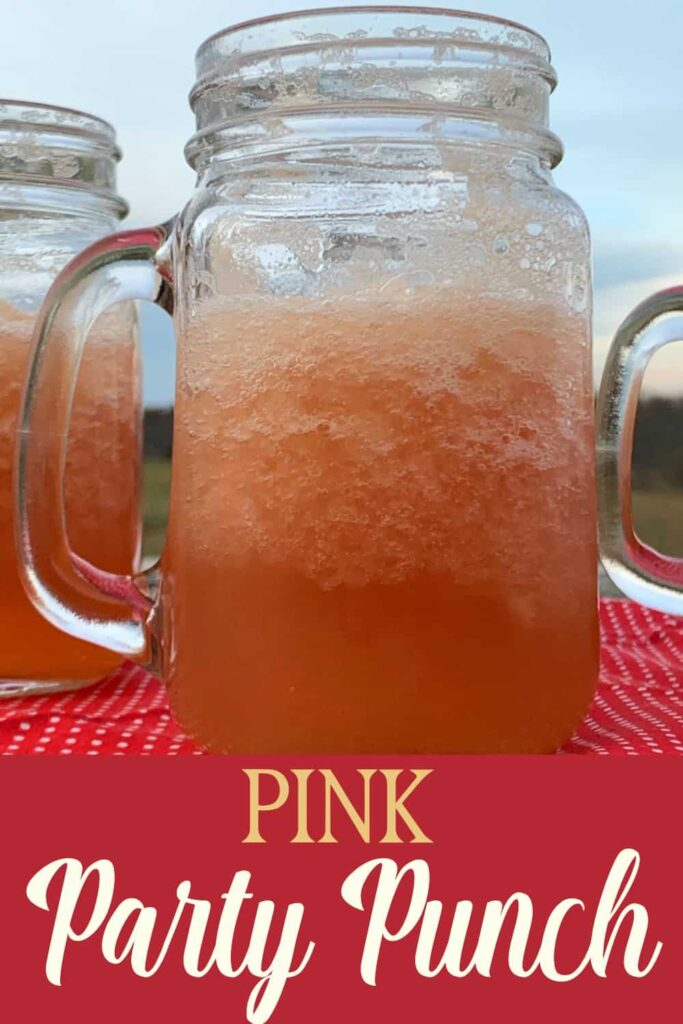 partially frozen Pink Party Punch in a mason jar