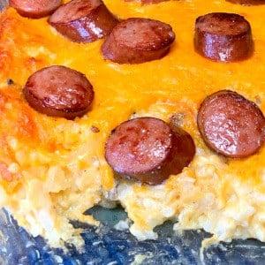 smoked sausage and cheesy potatoes