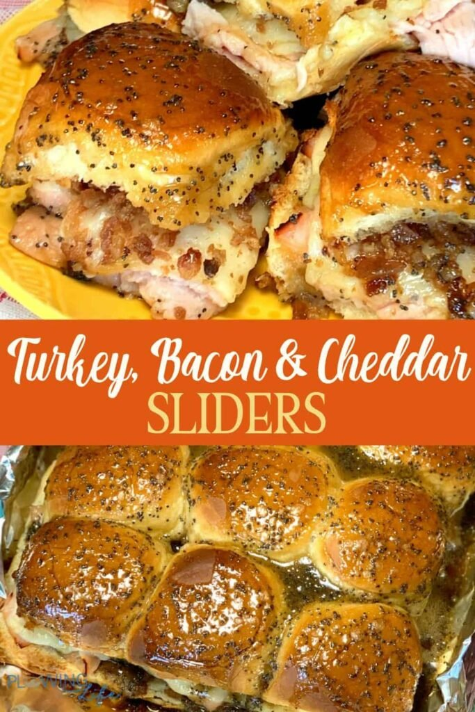 Collage of turkey, bacon and cheddar sliders in pan and on a plate