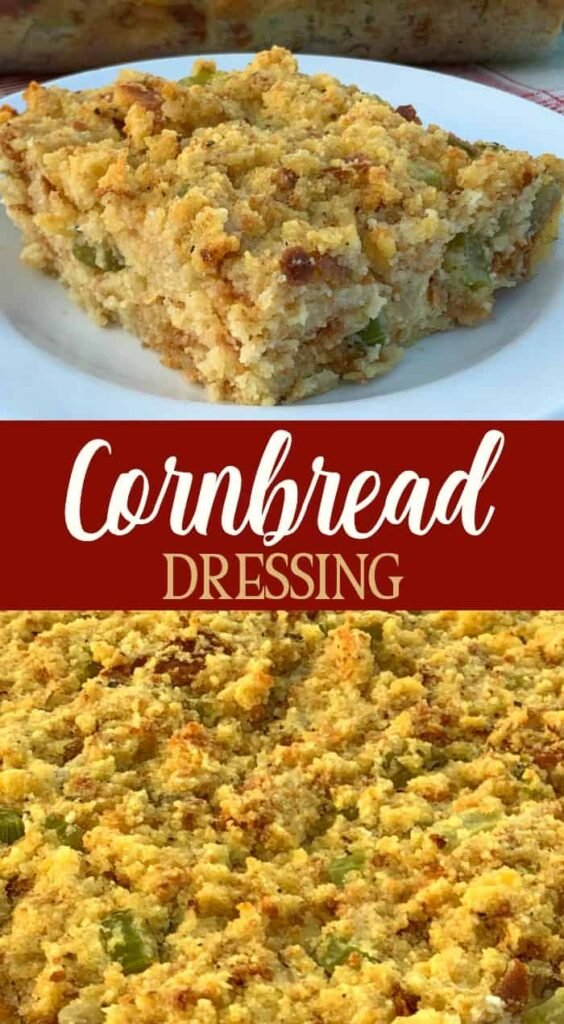 close up pictures in a collage of cornbread dressing