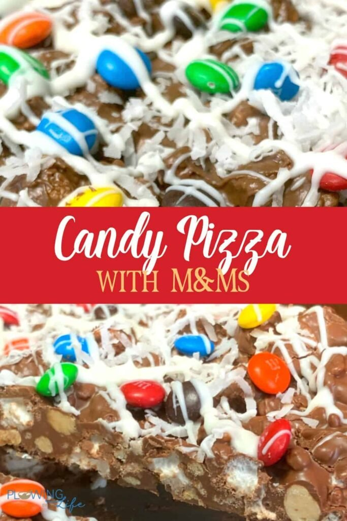 collage of chocolate candy pizza pics drizzled with white chocolate & M&Ms