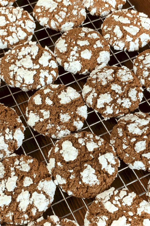 Chocolate cookies with powdered sugar dusting on a baking rack
