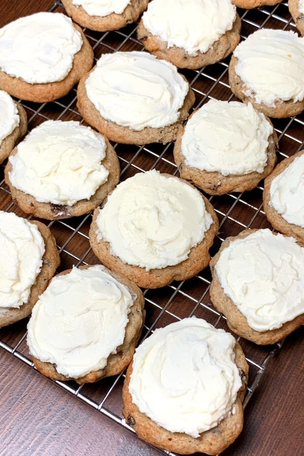 old fashioned hermit cookies with homemade icing on baking rack